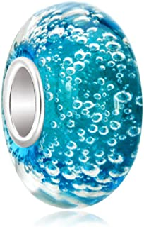 Charmed Craft 925 Sterling Silver Blue Bubble Murano Glass Beads Fit European Beacelets