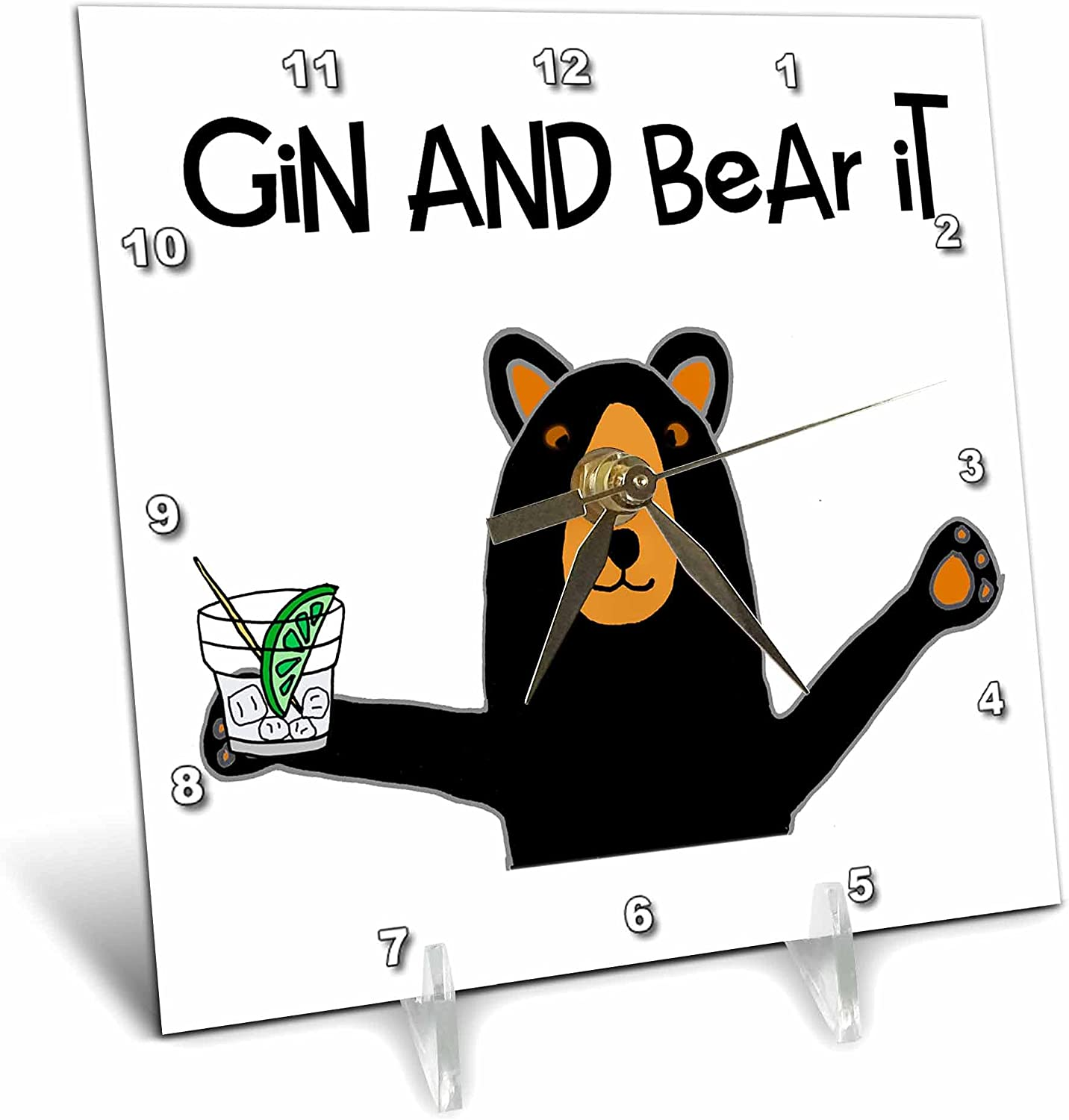 3dRose Sales results No. 1 Funny Black Bear Drinking Gin Limited time for free shipping Pun Drink - and it