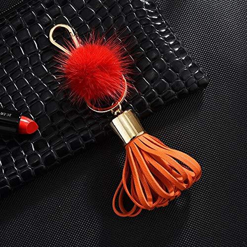 MEIHEK Schlüsselanhänger New PU Leder Keychain Laterne Quaste Schlüsselanhänger Ball Anhänger Auto Schlüsselanhänger Ornamente Geschenke K2295 rot