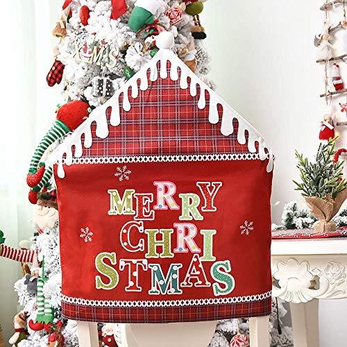 Conjunto de Silla de Copo de Nieve navideño,2020 Nueva Cubierta de Silla de decoración navideña-Red_8pcs,Christmas Chair Cover Fundas De Silla