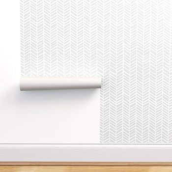 Spoonflower Peel And Stick Removable Wallpaper Grey And White Herrigbone Modern Chevron Herringbone Print Self Adhesive Wallpaper 12in X 24in Test Swatch Amazon Com