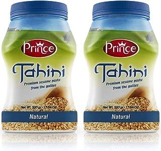 Prince Tahini Natural Tahini Paste - 100% Natural Ground Sesame Seeds. Kosher, Gluten Free, Paleo, Vegan Healthy Food - No Trans-Fat - Creamy and Flavorful. 17.6 oz. (Pack of 2) Natural