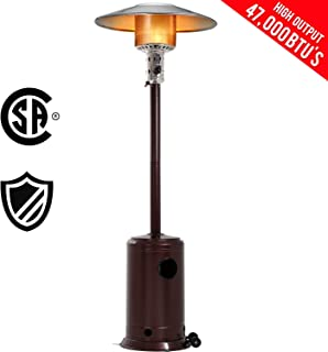 FDW Patio Tall Hammered Finish Garden Outdoor Heater Propane Standing LP Gas Steel w/Accessories, Bronze