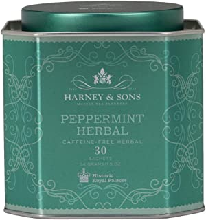 Harney & Sons Peppermint Herbal Tea in Sachets, Caffeine-Free Herbal, 30 Sachets