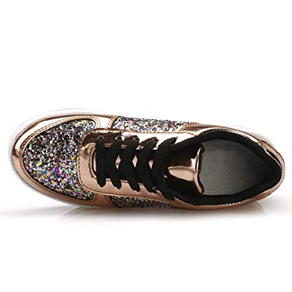 TTMOW Womens Platform Sneakers Glitter Sparkly Casual Lace-Up Fashion Sneakers Rocker Bottom Walking Shoes