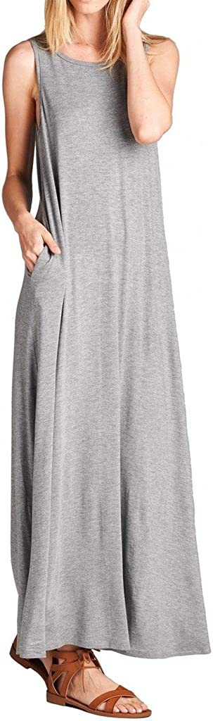 L.P. Women's Round Neck Maxi Tank Pocket Side Dress Popular with Los Angeles Mall