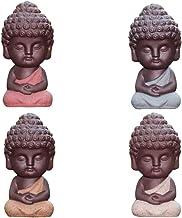 4 Grampos Mini Estátua do Buda de Cerâmica Ornamento de Decoração de Mesa de Carro de Chá (Cor de Roupa Aleatória)