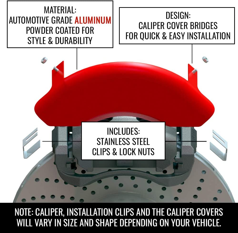 MGP Classic Caliper Covers 21191SCLCRD Red Powder Coated Brake Covers fits The 2018-2019 Kia Stinger Set of 4