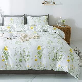"Miffrovn Daisy Plant Duvet Cover Set, Queen Size(90""x90"") 3 Pieces (2 Pillowcases, 1 Duvet Cover) Zipper Closure Flower Microfiber Bedding Set, Easy Care Duvet Cover for Women (No Comforter)"
