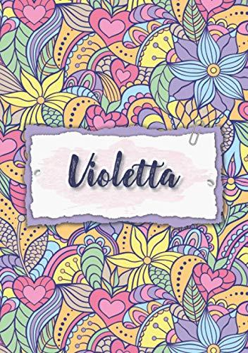 Violetta: Notizbuch A5 | Personalisierter vorname Violetta | Geburtstagsgeschenk für Frau, Mutter, Schwester, Tochter | Design: Blumen | 120 Seiten liniert, Kleinformat A5 (14,8 x 21 cm)