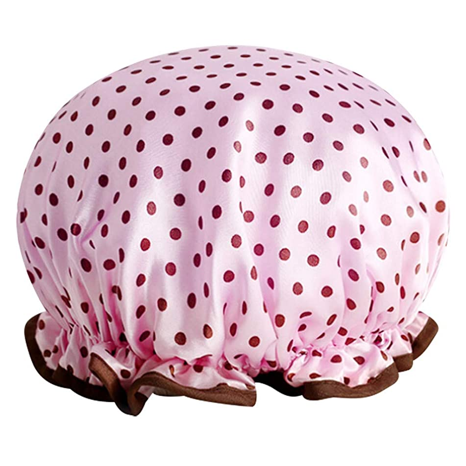 Ktyssp Printing Color Shampoo cap Double Layered Waterproof Shower Hat (B)