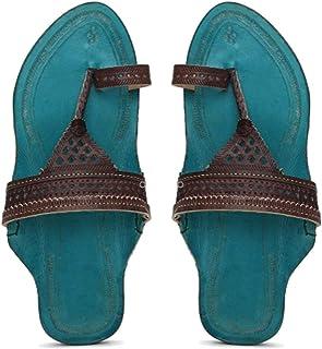 KALAPURI� Ladies Kolhapuri Chappal in Genuine Leather with Blue Pointed Shape Base and Brown Broad V-Shaped Upper. Handmad...