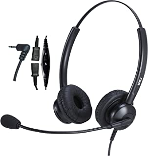 2.5mm Headset with Microphone for Office Phones Telephone Headset Noise Cancelling for Panasonic Cordless Phone KX-TGF574 ...