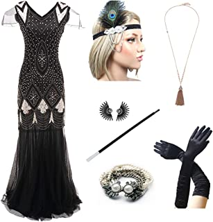 05f2dae1f124 1920s Women s Gatsby Costume Flapper Dresses V Neck Long Dress with 20s  Accessories Set ...
