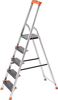 SONGMICS Escalera de 5 Peldaños, Escalera de Aluminio con