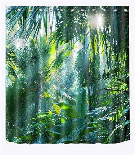 LB Grün Wald Duschvorhang 180x180CM Tropischer Dschungel Duschvorhänge mit Haken,Bananen Blätter Palme Pflanze Bad Vorhang Polyester Wasserdicht Anti Schimmel Badezimmer Vorhänge