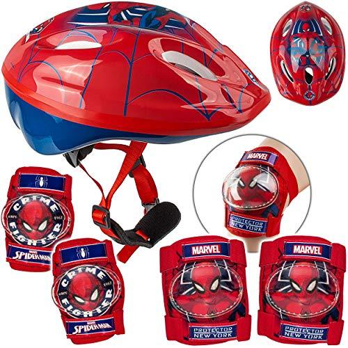 alles-meine.de GmbH 5 TLG. Set: - Sicherheitsset - Kinderhelm / Fahrradhelm - Spider-Man - Gr. 52 - 56 - Circa 3 bis 15 Jahre - Größen verstellbar / mitwachsend - TÜV geprüft - H..