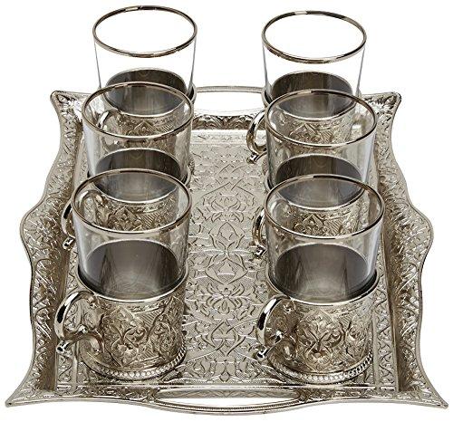 Türkisches Tee-Set für 6 Personen – Gläser mit Messinghalter und Tablett, Silber (200 ml)