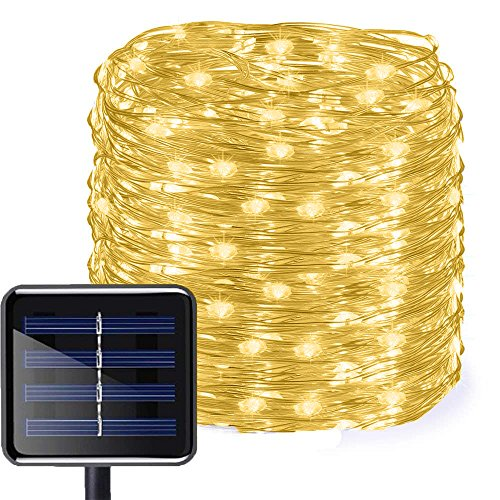 Aluvee Solar Copper Wire String Lights,50ft/150LED Outdoor Waterproof Garden Decoration Copper Wire Christmas Lamp for Wedding Party Tree Xmas Decoration Tree Xmas (Warm White)