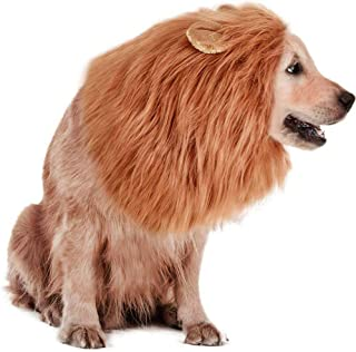 Rwm Dog Lion Mane Costume - Pet Wig Clothes for Halloween Party - Lion Wig for Medium to Large Sized Dogs Lion Mane Funny ...
