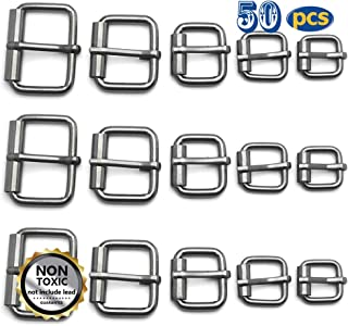 50 Pcs Assorted Multi-Purpose Metal Roller Buckles Belts Hardware Pin Buckle for Bags Leather Belt Strap Hand DIY Accessories, 1/2 Inch, 5/8 Inch, 3/4 Inch, 1 Inch, 1-1/4 (Gun Black)