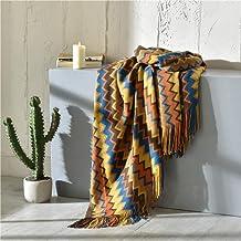Colorful Blanket Sofa Knit Throw Blanket with Tassels Fringe Travel Pottable Blanket Shawl Scarf 130x150cm