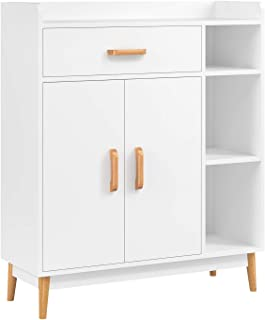 HOMFA Sideboard Storage Cabinet, Free Standing Cupboard Chest Room Display Unit Entryway Cabinet 1 Drawer 2 Doors 3 Shelves with Legs Decor Dining Furniture for Home, White