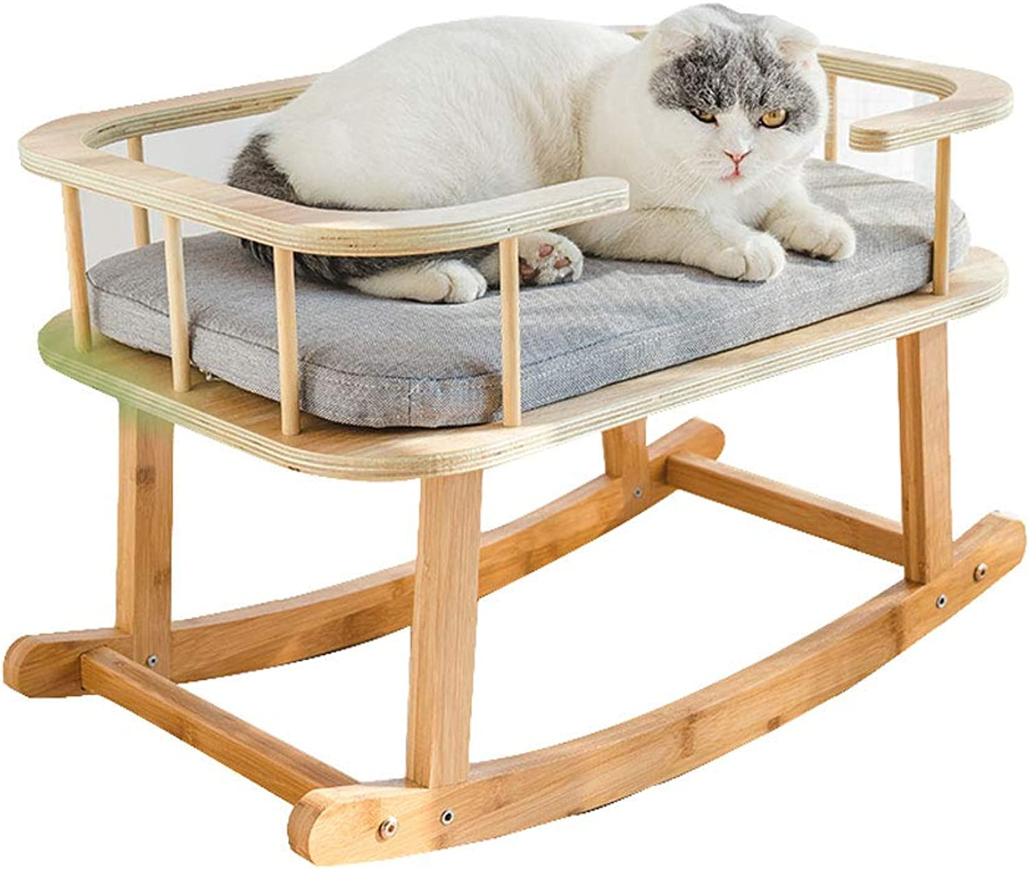 LiRongPing Solid wood rocking pet bed, four seasons universal sleep pet furniture, small and medium cats and dogs available, 64 cm long
