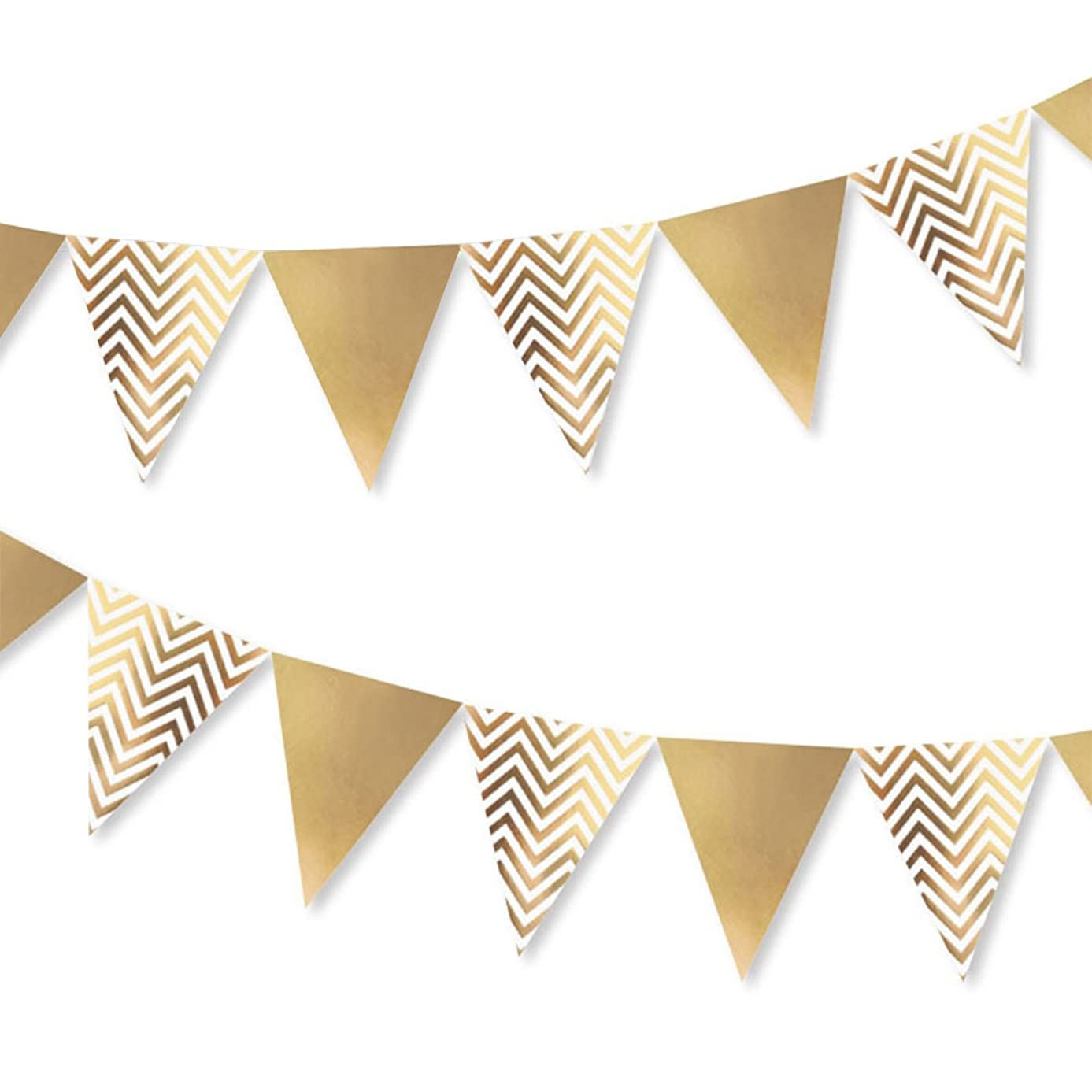 Sparkly Paper Pennant Banner, Glitter Triangle Flags Bunting Pennant Banner 8.2 Feet, Langte Gold Paper Garland for Baby Shower, Birthday Wedding Christmas New Year Party Decor, Metallic Gold, 1 Pack