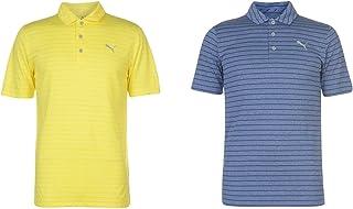 Official Brand Puma Rotation Stripe Golf Polo Shirt Mens Activewear Collar Top Tee Blue Small