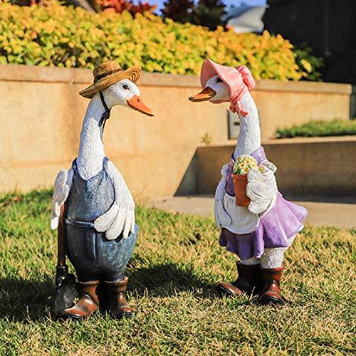 Garden Simulation Cartoon Animals Ornaments and Statues Art, Creativity Courtyard Landscape Sculpture, Outdoor Garden Decor Duck Resin Ornaments, Backyard Lawn Eco-Friendly Resin Animal Crafts,A+b