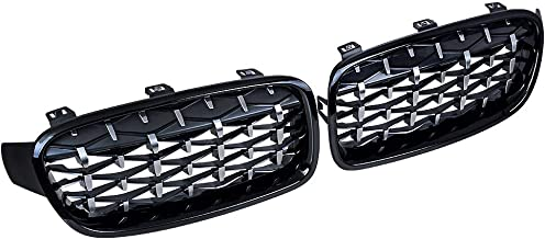 1 Pair Glossy Black Chrome Diamond Mesh Grille Grill Compatible with 2012-2018 BMW F30 F31 320i 328i 335i 4-Door