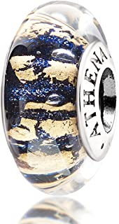 ATHENAIE Murano Glass 925 Silver Dark Blue Sand with Gold Foil Charm Bead for Bracelet Mother's Day Gift