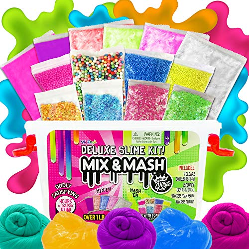 COMPOUND KINGS Mix & Mash Tub Pink Colorful Fluffy Slime, Clearz Slime, Foam Beads, Glitter Mix Ins, DIY Slime Kit for Kids Non-Sticky Slime, Non-Toxic & Non-Drying Sensory Slime