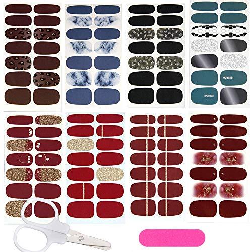 112 Stück Nagelaufkleber selbstklebende Nagelaufkleber,Nail Art Aufkleber + 1 Stück Nagelfeile + 1 Scheren Nagelaufkleber schön und modisch,DIY Dekoration