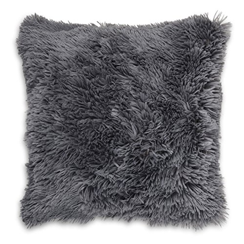 Adore Home Long Pile Super Soft and Cuddly Shaggy 17x17 (43x43cm) Cushion Cover (Charcoal)