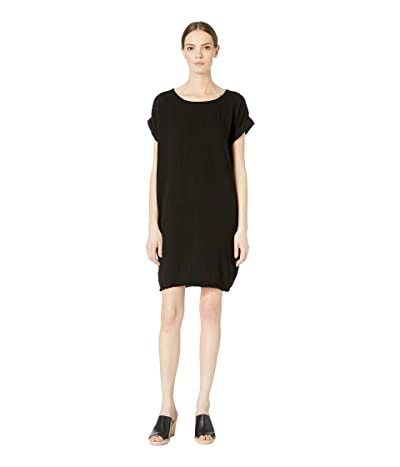 Eileen Fisher Ballet Neck Short Sleeve Short Dress (Black) Women