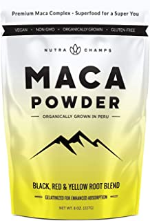Organic Maca Powder - Peruvian Grown Maca Blend with Yellow, Black & Red Roots - Gelatinized for Superior Bioavailability ...