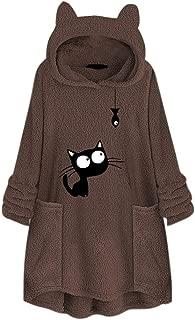 HebeTop Cute Cat Sweatshirt, Women Teen Girls Cotton Hoodie Sweater Tops with Pocket