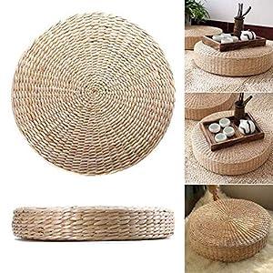 Cojín de Asiento de Paja Tejida de 40 Cm Puf Redondo Tatami Piso Hecho a Mano Almohada de Meditación Tradicional Japonesa Estera de Yoga Suave para El Hogar