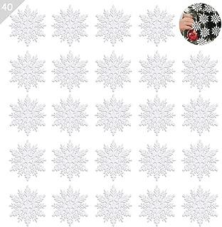 KIPIDA Plastic Snowflake Ornaments,40pcs Sparkling Glitter Snowflake Decorations,String Hanging Christmas Snowflakes Ornaments for Christmas Decorations,Crafting,Wedding and Embellishing(White,3 Inch)