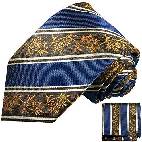 Bleu brun floral ensemble de cravate 2 Pièces ( 100% Soie Cravate + Mouchoir )