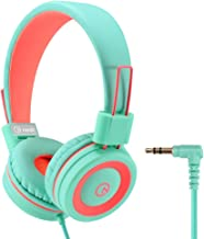 Kids Headphones - noot products K11 Foldable Stereo Tangle-Free 3.5mm Jack Wired Cord On-Ear Headset for Children/Teens/Girls/Boys/Smartphones/School/Kindle/Airplane/Plane/Tablet (Mint/Coral)