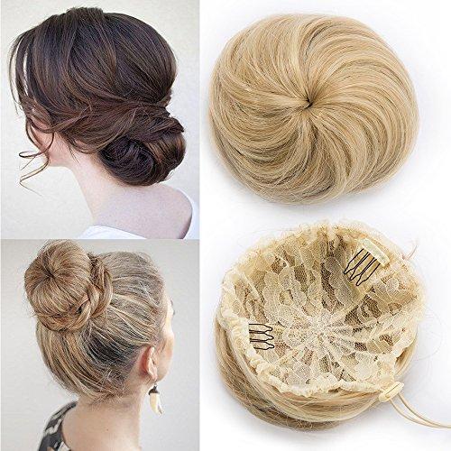 TESS Haargummi Haarteil Dutt mit Haaren Ombre Glatt Haarknoten Hochsteckfrisuren günstig für Frauen 45g Hellblond/Blond