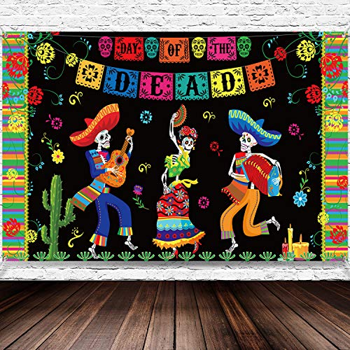Day of The Dead Party Supplies, 6 x 3.6 ft Extra Large Fabric Day of The Dead Backdrop Banner for Halloween - Party Decoration Photo Booth Backdrop Skull Background Banner
