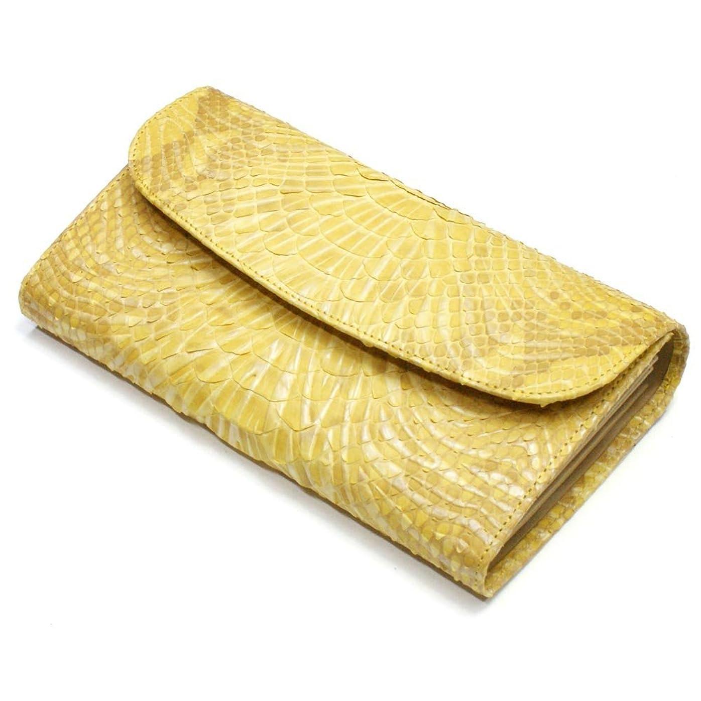 自然公園大統領家畜P-WV1121-YE パイソン革「蛇革」ギャルソン財布、ウェーブ風型押し仕上げ:「Lサイズ」:イエロー