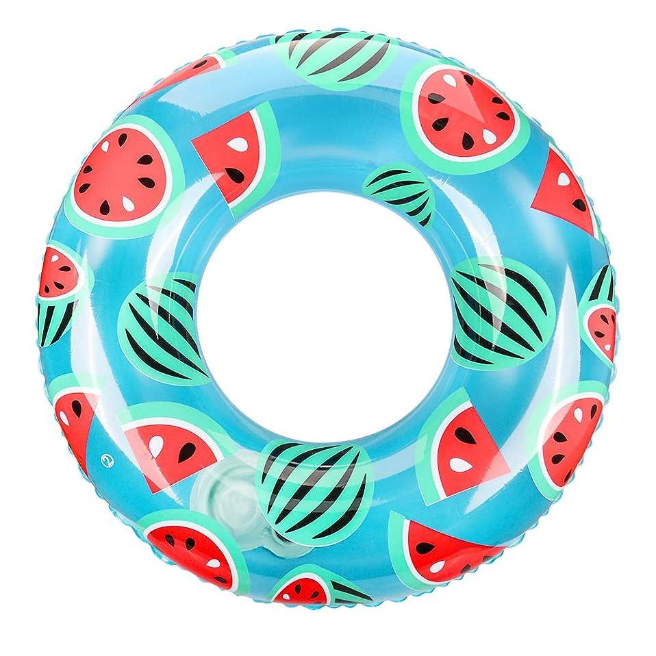 言い訳大気飢Ninonly 浮き輪 浮輪 大人用 うきわ 水遊び用 スイミング エアーポンプ不要 押すだけ空気入れ 直径100cm 収納ケース付き(西瓜柄)