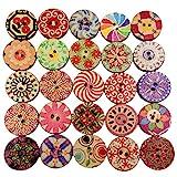 100pz Rotondo Stampa Bottoni Di Legno Per Cucito E Artigianato scrapbooking Decorazione 20mm