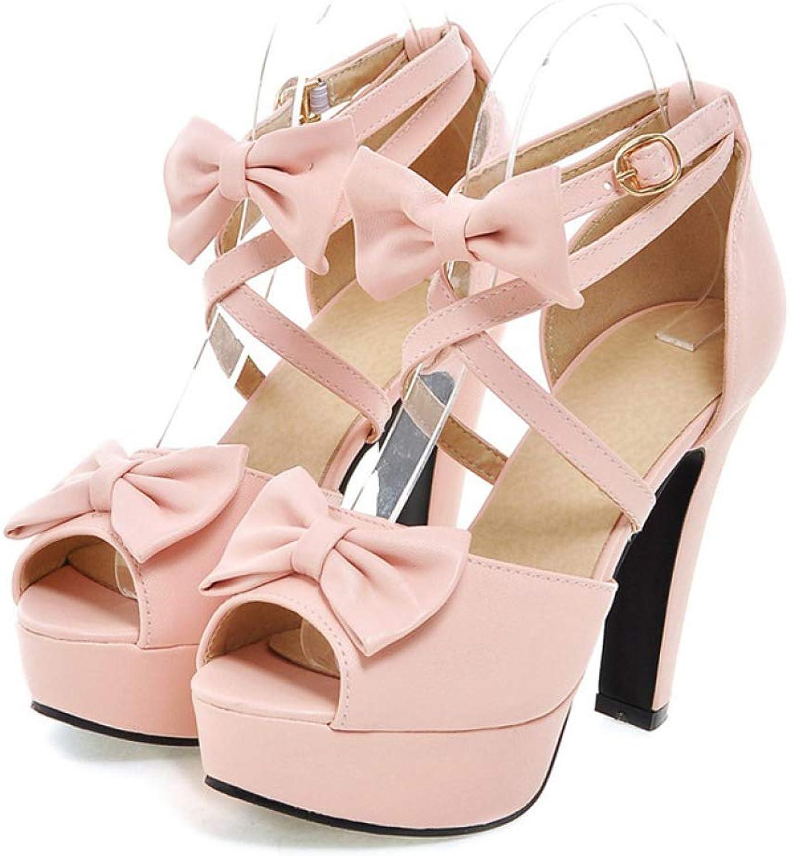 JOYBI Womens Platform High Heels Pumps Sandals Summer Bowtie Non-Slip Fashion Ankle Strap Buckle Peep Toe Sandal
