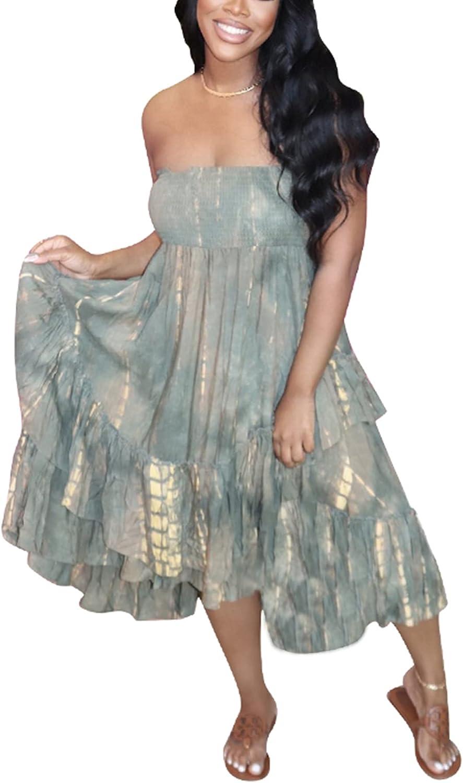 Vaceky Womens Sexy Tube Top Midi Dress Sleeveless Strapless Tie Dye Print Beach Dress Plus Size